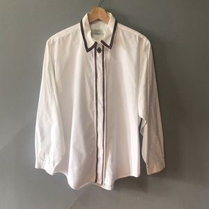 vintage button down blouse with embroidery